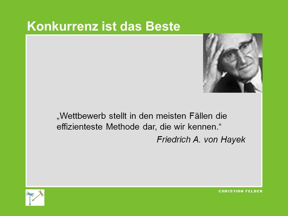 """""""Wettbewerb stellt in den meisten Fällen die effizienteste Methode dar, die wir kennen."""" Friedrich A. von Hayek Konkurrenz ist das Beste"""