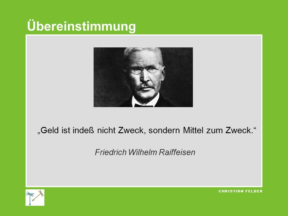 """""""Geld ist indeß nicht Zweck, sondern Mittel zum Zweck. Friedrich Wilhelm Raiffeisen Übereinstimmung"""