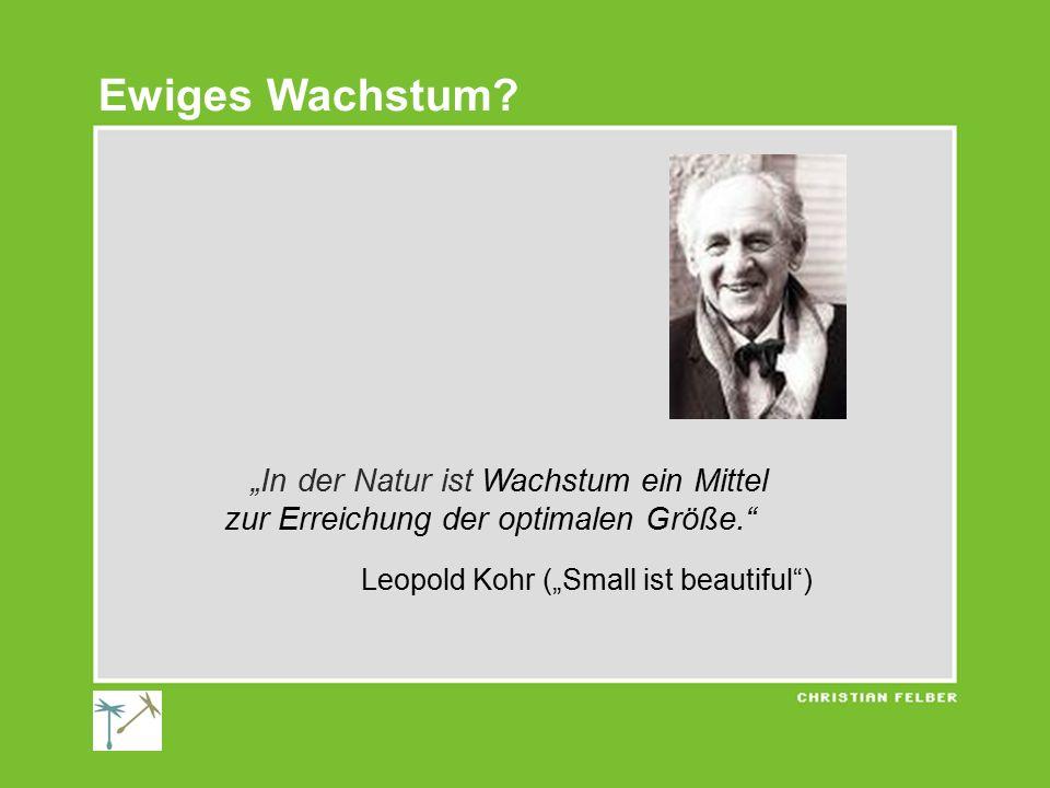 """""""In der Natur ist Wachstum ein Mittel zur Erreichung der optimalen Größe."""" Leopold Kohr (""""Small ist beautiful"""") Ewiges Wachstum?"""
