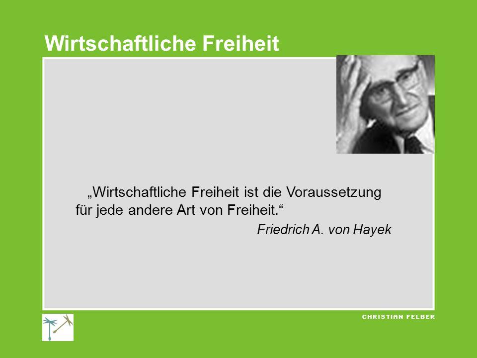 """""""Wirtschaftliche Freiheit ist die Voraussetzung für jede andere Art von Freiheit."""" Friedrich A. von Hayek Wirtschaftliche Freiheit"""