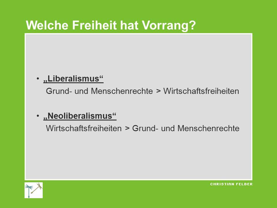 """""""Liberalismus Grund- und Menschenrechte > Wirtschaftsfreiheiten """"Neoliberalismus Wirtschaftsfreiheiten > Grund- und Menschenrechte Welche Freiheit hat Vorrang?"""
