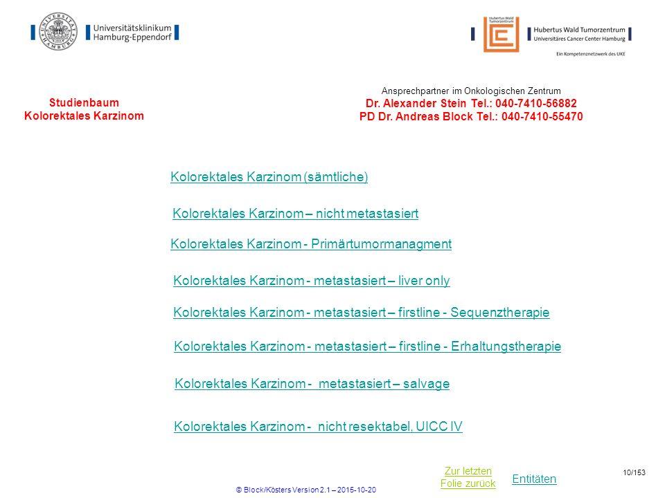 Entitäten Zur letzten Folie zurück Studienbaum Kolorektales Karzinom Kolorektales Karzinom - metastasiert – liver only Kolorektales Karzinom - metasta