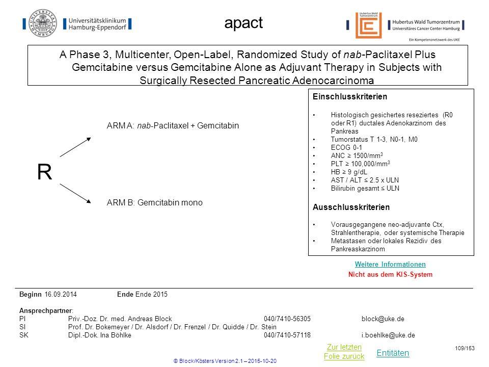 Entitäten Zur letzten Folie zurück apact A Phase 3, Multicenter, Open-Label, Randomized Study of nab-Paclitaxel Plus Gemcitabine versus Gemcitabine Al
