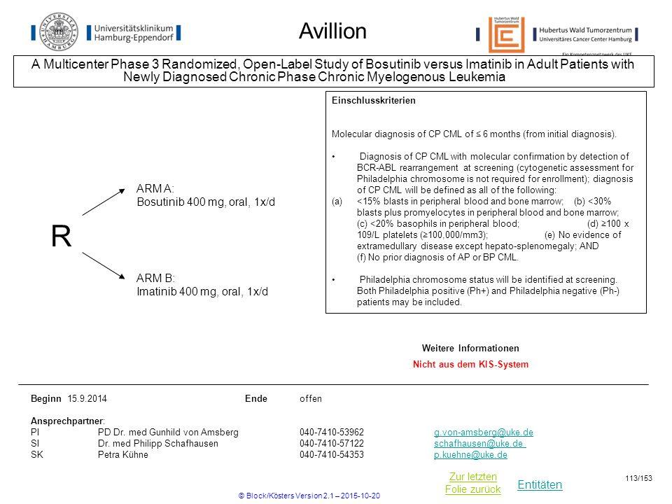 Entitäten Zur letzten Folie zurück Avillion A Multicenter Phase 3 Randomized, Open-Label Study of Bosutinib versus Imatinib in Adult Patients with New
