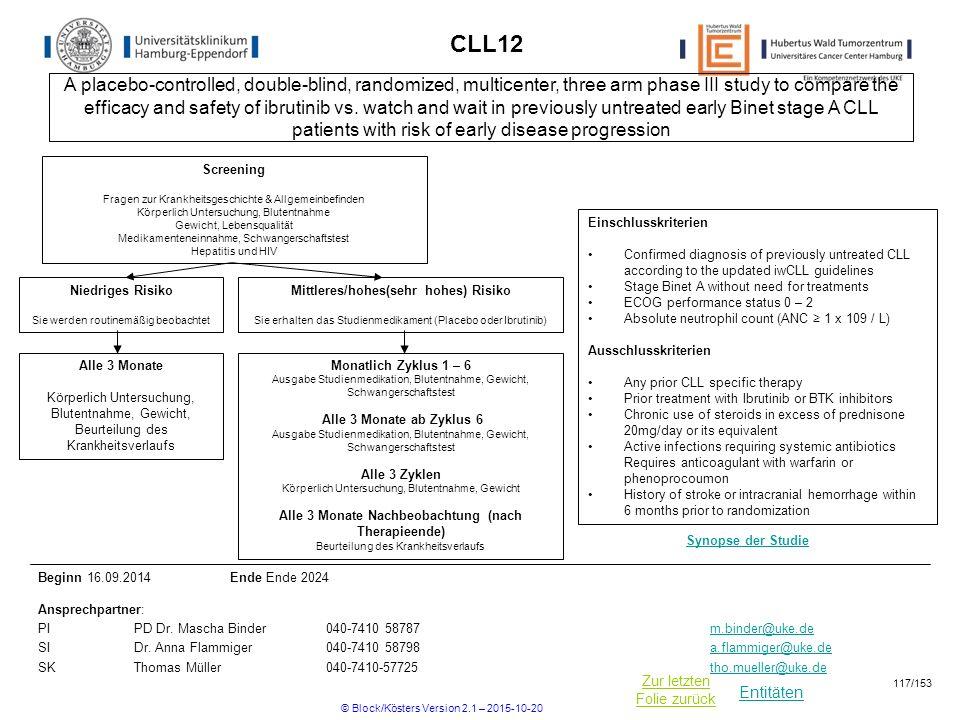 Entitäten Zur letzten Folie zurück CLL12 Einschlusskriterien Confirmed diagnosis of previously untreated CLL according to the updated iwCLL guidelines