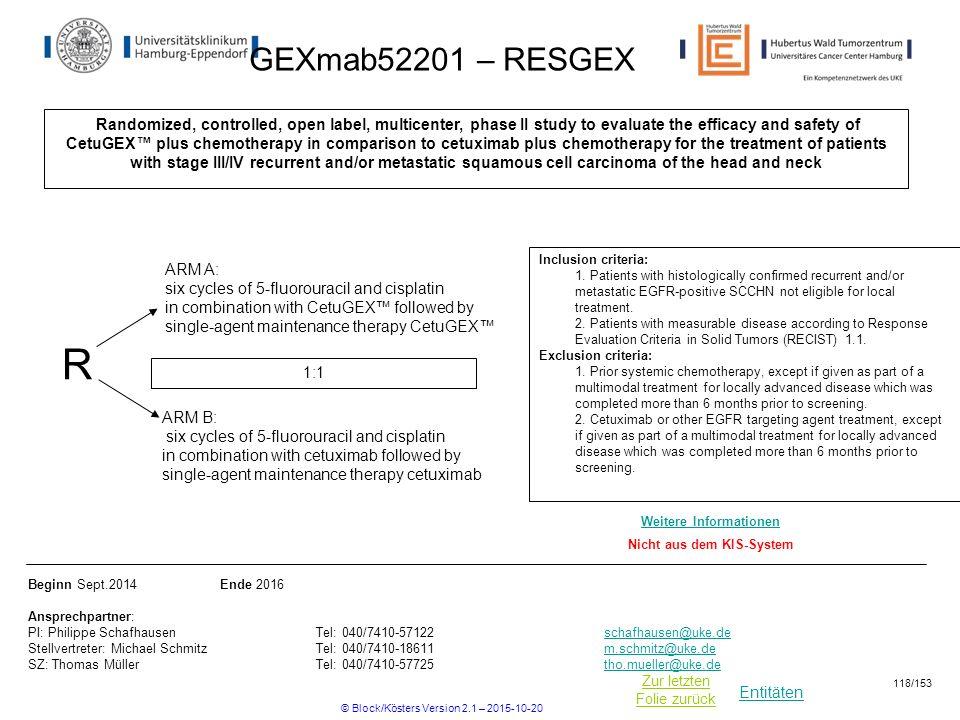 Entitäten Zur letzten Folie zurück GEXmab52201 – RESGEX Randomized, controlled, open label, multicenter, phase II study to evaluate the efficacy and s