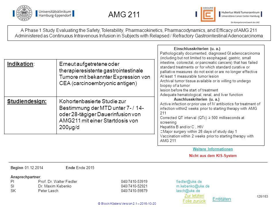Entitäten Zur letzten Folie zurück AMG 211 Einschlusskriterien (u. a.) Pathologically documented, diagnosed GI adenocarcinoma (including but not limit