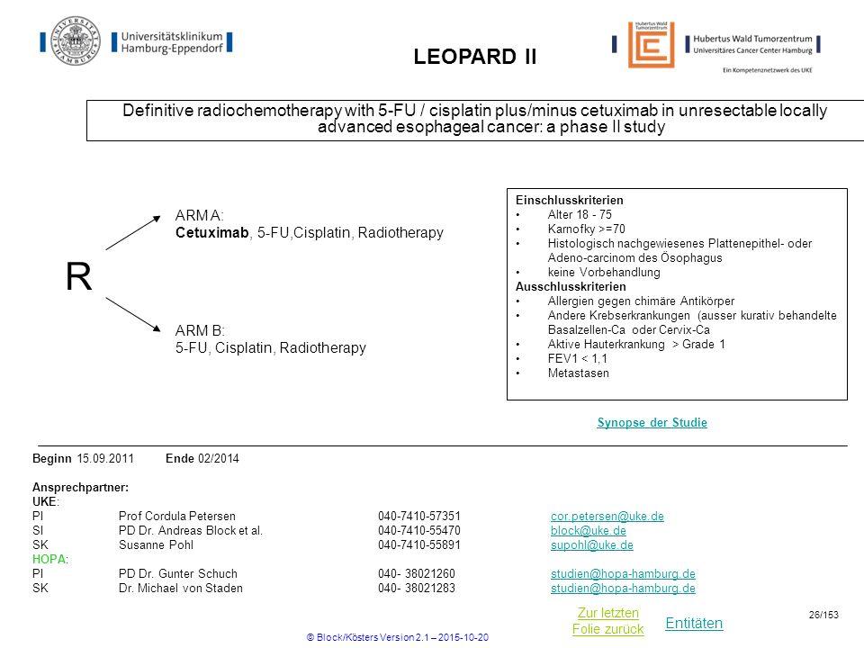 Entitäten Zur letzten Folie zurück LEOPARD II Definitive radiochemotherapy with 5-FU / cisplatin plus/minus cetuximab in unresectable locally advanced