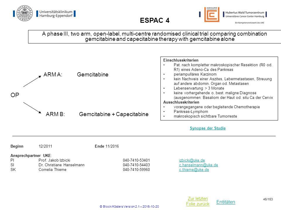 Entitäten Zur letzten Folie zurück ESPAC 4 A phase III, two arm, open-label, multi-centre randomised clinical trial comparing combination gemcitabine