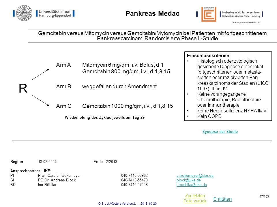 Entitäten Zur letzten Folie zurück Pankreas Medac Gemcitabin versus Mitomycin versus Gemcitabin/Mytomycin bei Patienten mit fortgeschrittenem Pankreas