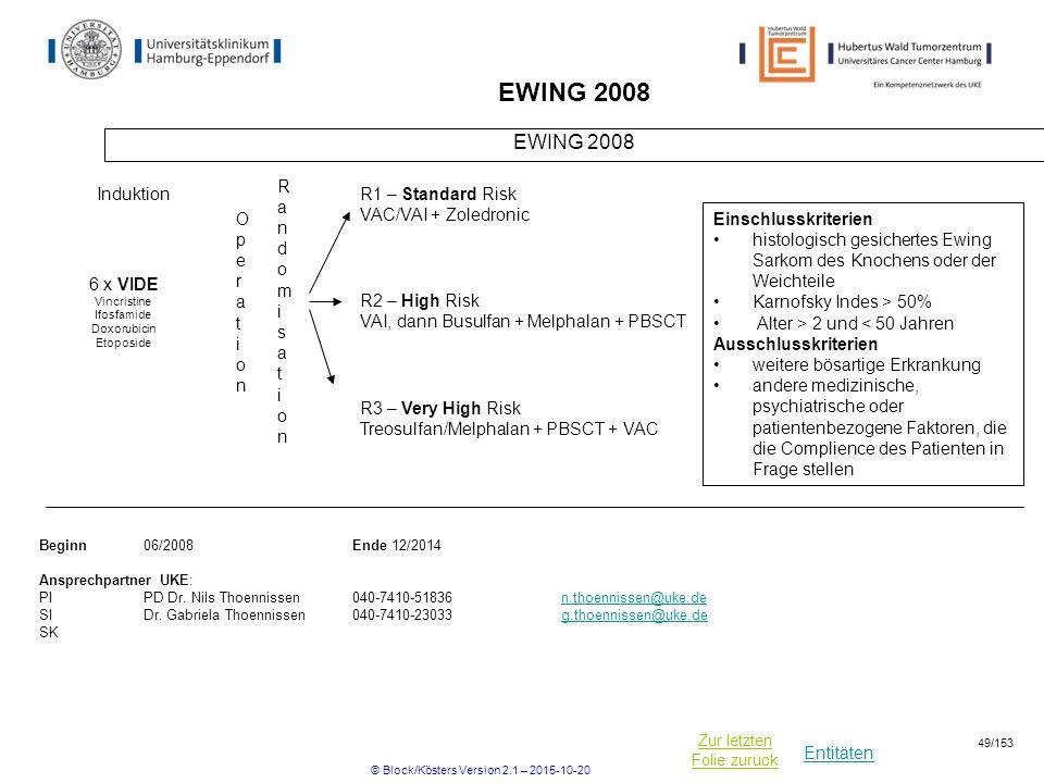 Entitäten Zur letzten Folie zurück EWING 2008 RandomisationRandomisation Beginn06/2008Ende 12/2014 Ansprechpartner UKE: PIPD Dr. Nils Thoennissen040-7