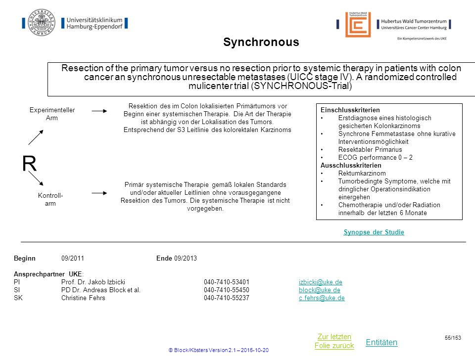 Entitäten Zur letzten Folie zurück Synchronous Resection of the primary tumor versus no resection prior to systemic therapy in patients with colon can