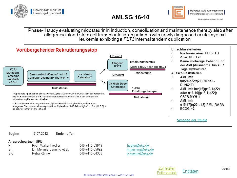 Entitäten Zur letzten Folie zurück AMLSG 16-10 Phase-II study evaluating midostaurin in induction, consolidation and maintenance therapy also after al