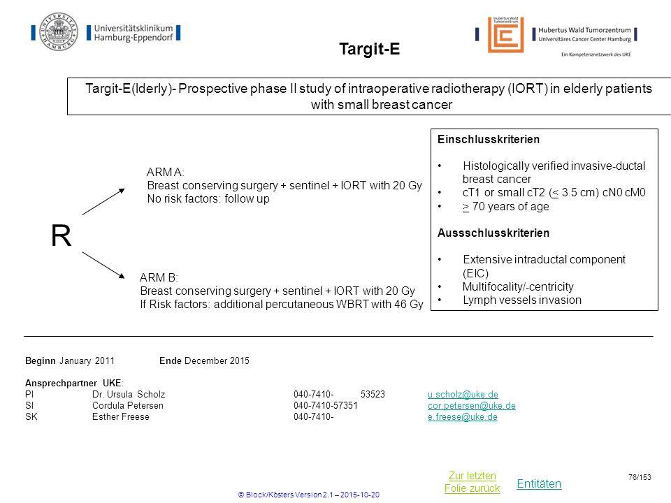 Entitäten Zur letzten Folie zurück Targit-E Targit-E(lderly)- Prospective phase II study of intraoperative radiotherapy (IORT) in elderly patients wit