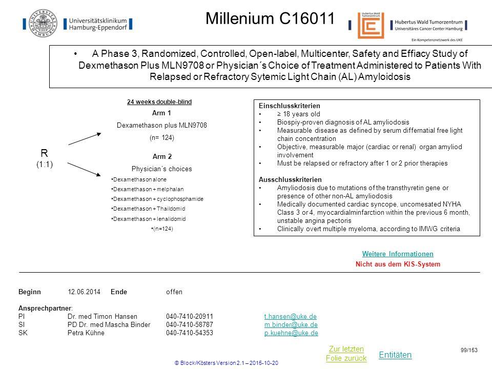 Entitäten Zur letzten Folie zurück Millenium C16011 A Phase 3, Randomized, Controlled, Open-label, Multicenter, Safety and Effiacy Study of Dexmethaso