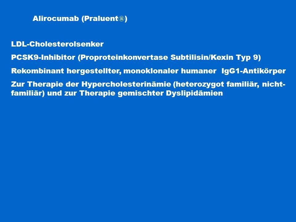 Evolucumab (Repatha  ) LDL-Cholesterolsenker PCSK9-Inhibitor (Proproteinkonvertase Subtilisin/Kexin Typ 9) Rekombinant hergestellter, monoklonaler humaner IgG2-Antikörper Zur Therapie der Hypercholesterinämie (heterozygot familiär, nicht- familiär, homozygot familiär) und zur Therapie gemischter Dyslipidämien