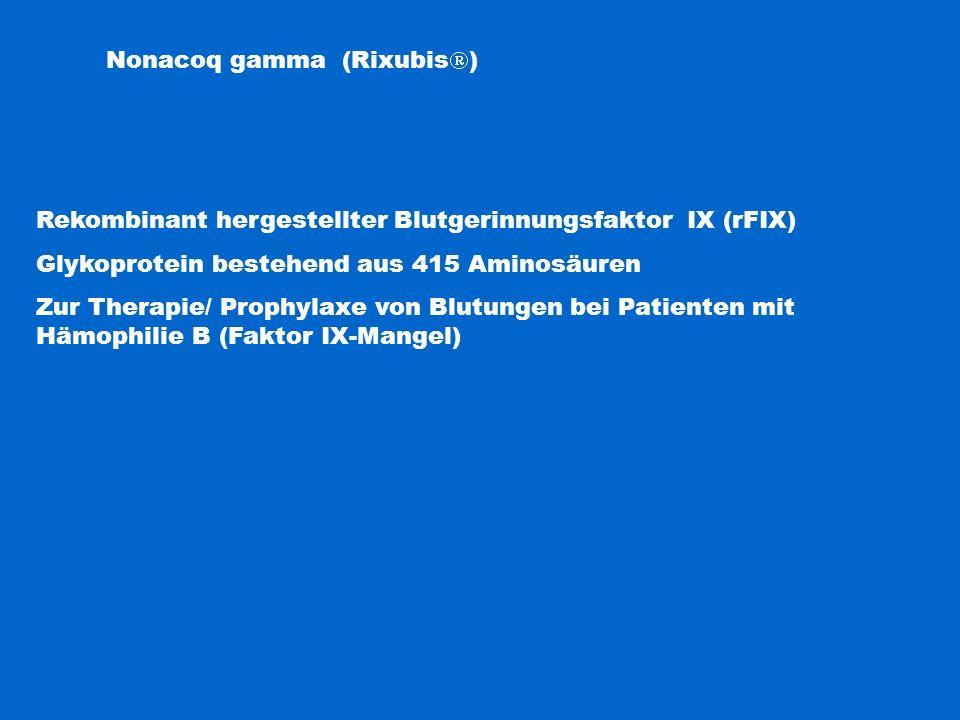 Nonacoq gamma (Rixubis  ) Rekombinant hergestellter Blutgerinnungsfaktor IX (rFIX) Glykoprotein bestehend aus 415 Aminosäuren Zur Therapie/ Prophylax