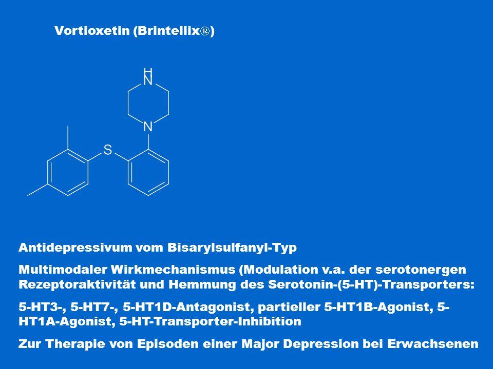 Vortioxetin (Brintellix  ) Antidepressivum vom Bisarylsulfanyl-Typ Multimodaler Wirkmechanismus (Modulation v.a. der serotonergen Rezeptoraktivität u
