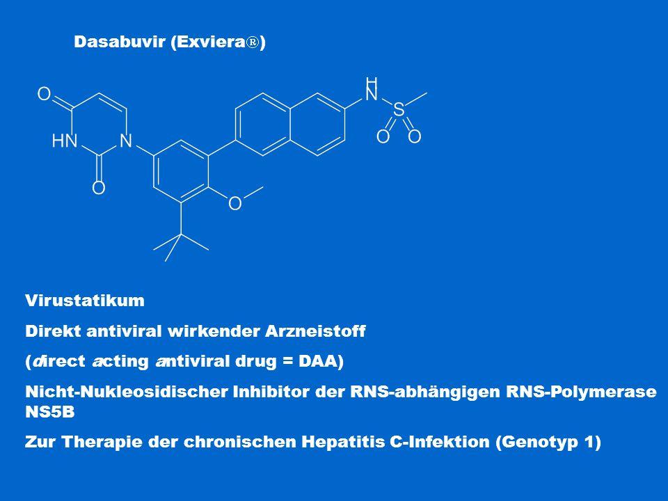 Dasabuvir (Exviera  ) Virustatikum Direkt antiviral wirkender Arzneistoff (direct acting antiviral drug = DAA) Nicht-Nukleosidischer Inhibitor der RN