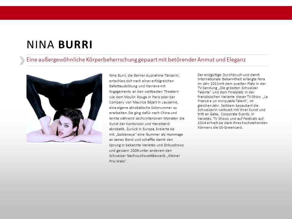 """Der endgültige Durchbruch und damit internationale Bekanntheit erlangte Nina im Jahr 2011mit dem zweiten Platz in der TV-Sendung """"Die grössten Schweiz"""