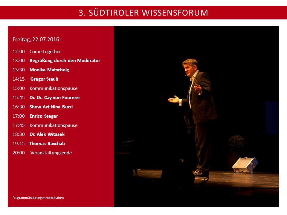 3. SÜDTIROLER WISSENSFORUM Freitag, 22.07.2016: 12:00 Come together 13:00 Begrüßung durch den Moderator 13:30Monika Matschnig 14:15 Gregor Staub 15:00
