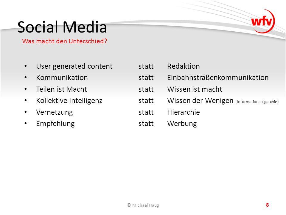 Social Media Was macht den Unterschied? © Michael Haug 8 User generated contentstattRedaktion KommunikationstattEinbahnstraßenkommunikation Teilen ist