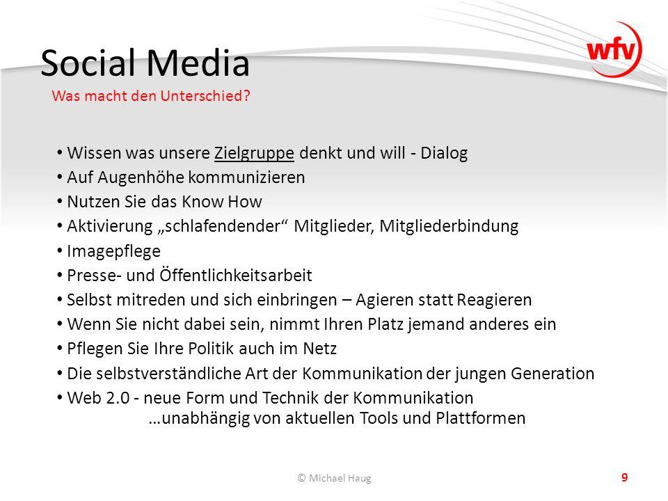 Social Media Was macht den Unterschied? © Michael Haug 9 Wissen was unsere Zielgruppe denkt und will - Dialog Auf Augenhöhe kommunizieren Nutzen Sie d