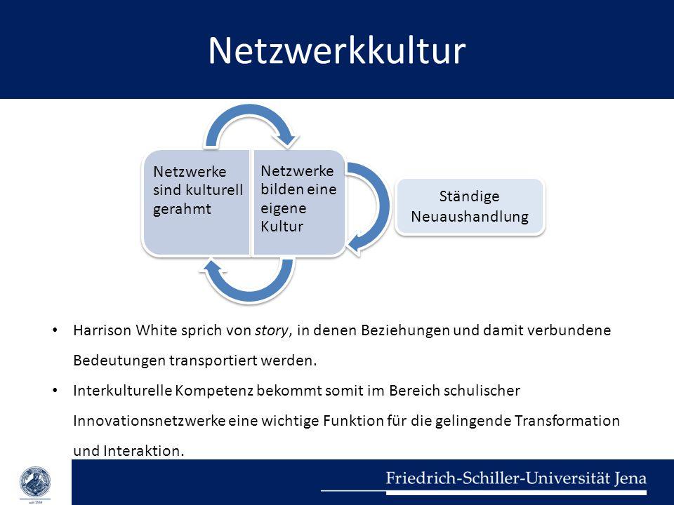 Netzwerkkultur Harrison White sprich von story, in denen Beziehungen und damit verbundene Bedeutungen transportiert werden. Interkulturelle Kompetenz
