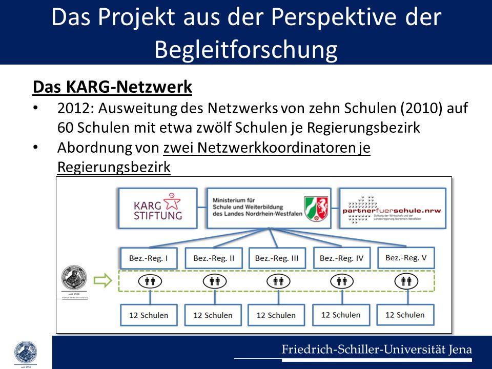 Das Projekt aus der Perspektive der Begleitforschung Das KARG-Netzwerk 2012: Ausweitung des Netzwerks von zehn Schulen (2010) auf 60 Schulen mit etwa
