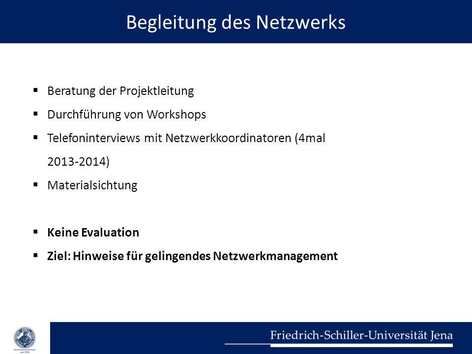 Begleitung des Netzwerks  Beratung der Projektleitung  Durchführung von Workshops  Telefoninterviews mit Netzwerkkoordinatoren (4mal 2013-2014)  M