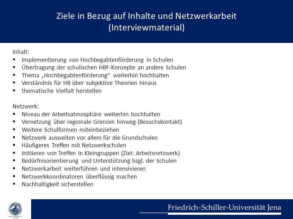 Ziele in Bezug auf Inhalte und Netzwerkarbeit (Interviewmaterial) Inhalt:  Implementierung von Hochbegabtenförderung in Schulen  Übertragung der sch