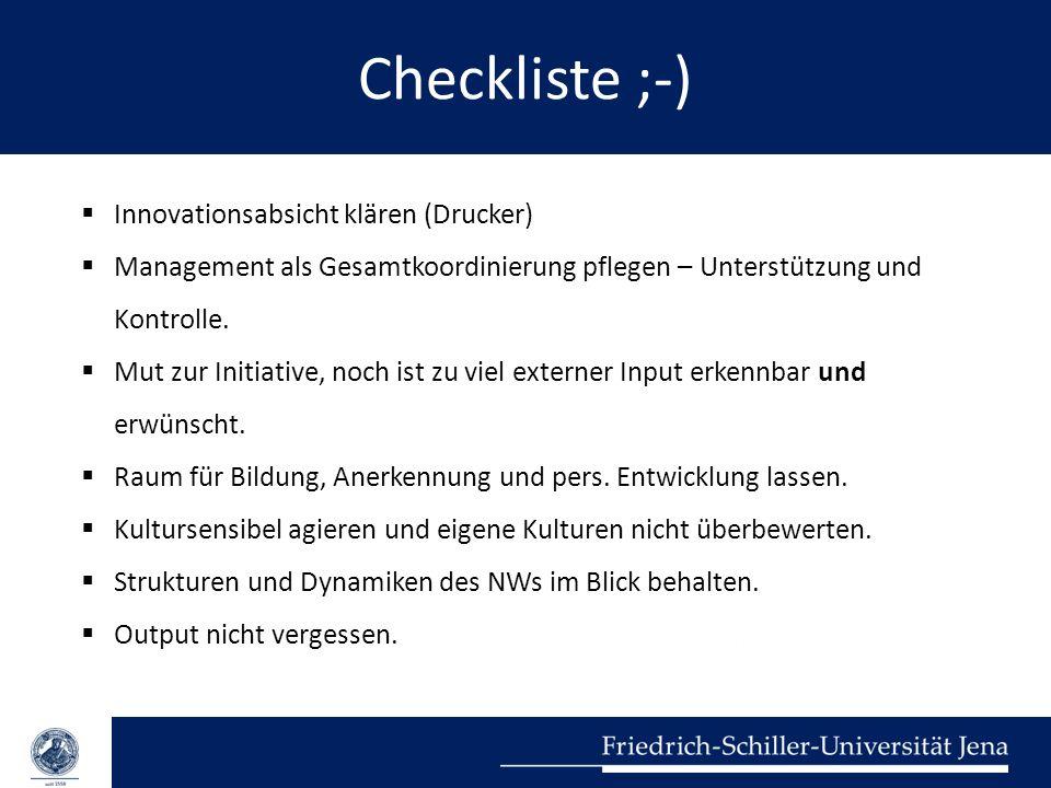 Checkliste ;-)  Innovationsabsicht klären (Drucker)  Management als Gesamtkoordinierung pflegen – Unterstützung und Kontrolle.  Mut zur Initiative,