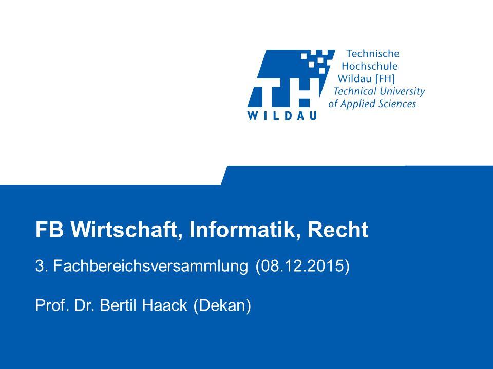 FB Wirtschaft, Informatik, Recht 3. Fachbereichsversammlung (08.12.2015) Prof.