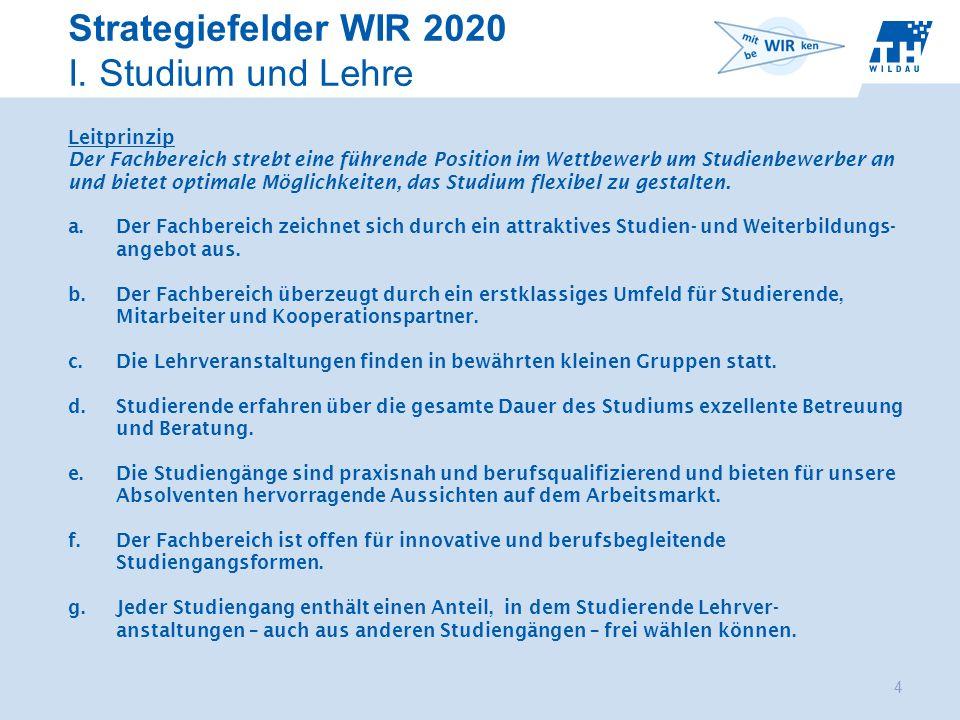 Strategiefelder WIR 2020 I. Studium und Lehre 4 Start 2.