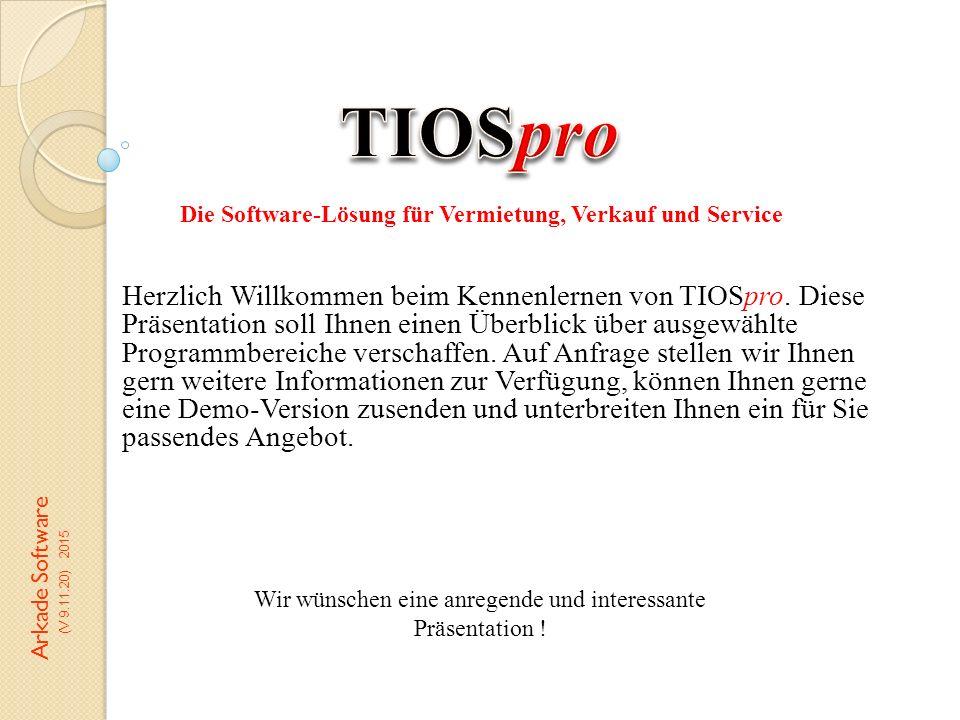 Herzlich Willkommen beim Kennenlernen von TIOSpro. Diese Präsentation soll Ihnen einen Überblick über ausgewählte Programmbereiche verschaffen. Auf An