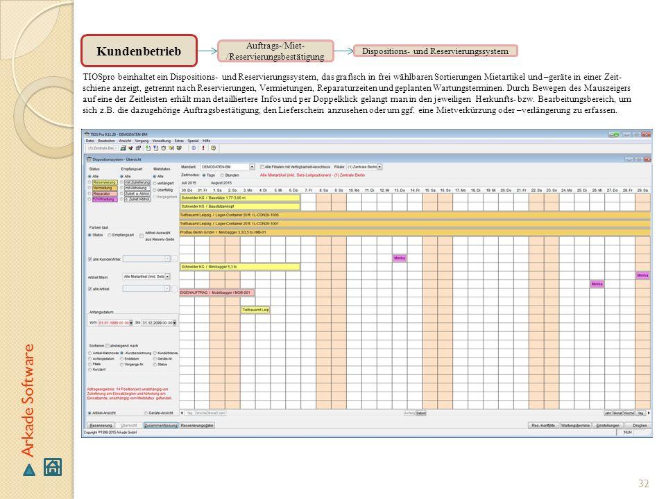 32 Arkade Software Auftrags-/Miet- /Reservierungsbestätigung TIOSpro beinhaltet ein Dispositions- und Reservierungssystem, das grafisch in frei wählba
