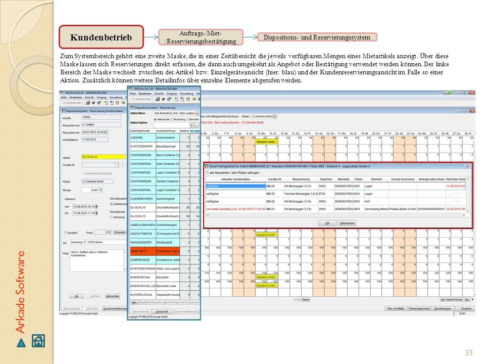 33 Arkade Software Auftrags-/Miet- /Reservierungsbestätigung Zum Systembereich gehört eine zweite Maske, die in einer Zeitübersicht die jeweils verfüg