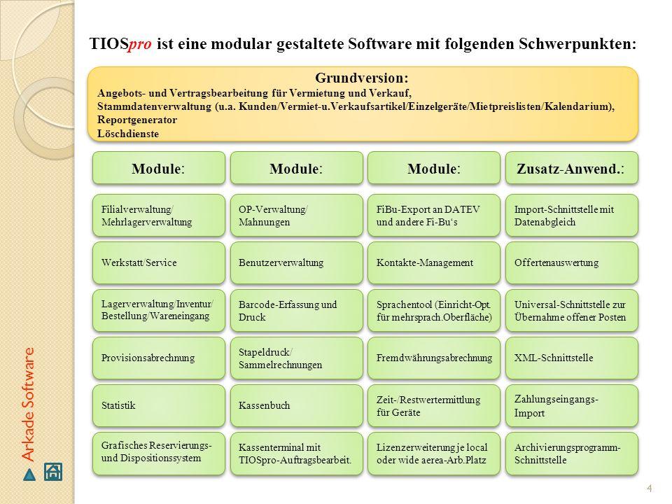 4 TIOSpro ist eine modular gestaltete Software mit folgenden Schwerpunkten: Grundversion: Angebots- und Vertragsbearbeitung für Vermietung und Verkauf