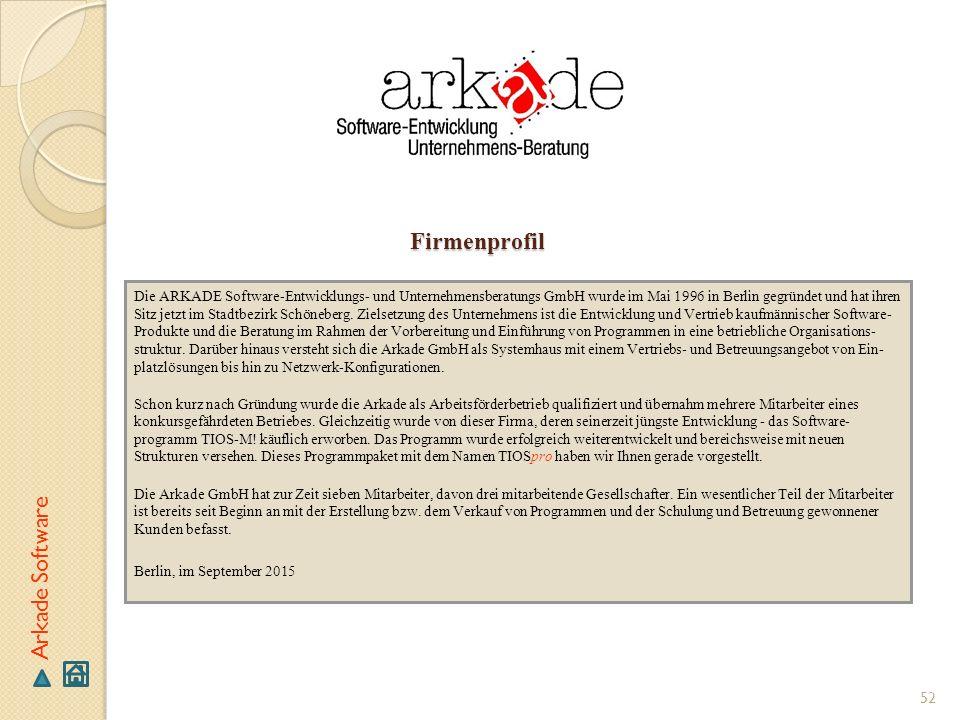 Firmenprofil Die ARKADE Software-Entwicklungs- und Unternehmensberatungs GmbH wurde im Mai 1996 in Berlin gegründet und hat ihren Sitz jetzt im Stadtb