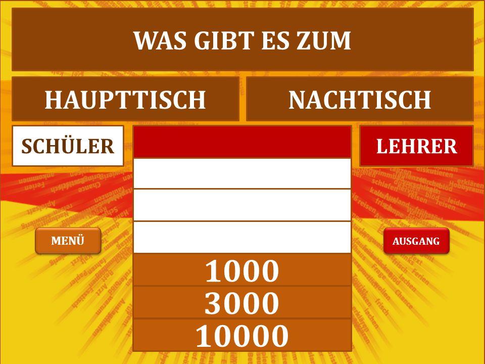 1000 3000 10000 LEHRERSCHÜLER WIR ESSEN BRATWURSTAPFELWURST AUSGANG MENÜ
