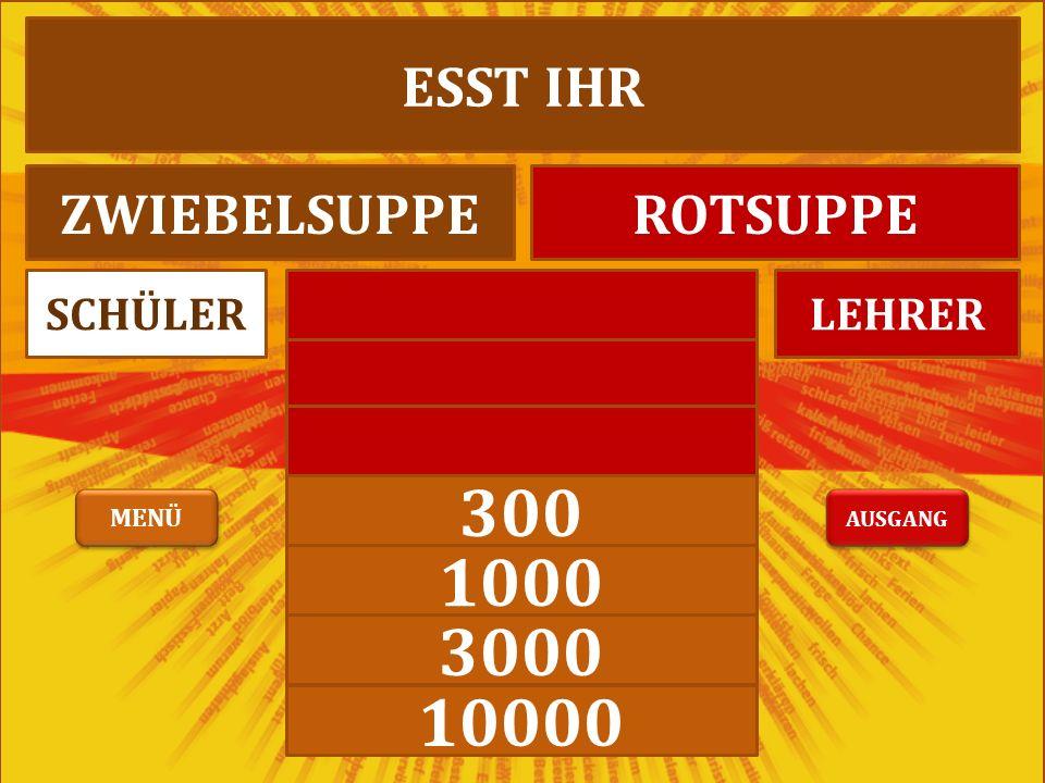 300 1000 3000 10000 LEHRERSCHÜLER ESST IHR ZWIEBELSUPPEROTSUPPE AUSGANG MENÜ