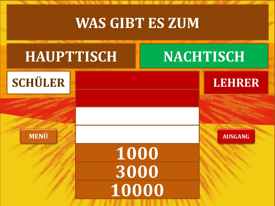 1000 3000 10000 LEHRERSCHÜLER WAS GIBT ES ZUM HAUPTTISCHNACHTISCH AUSGANG MENÜ
