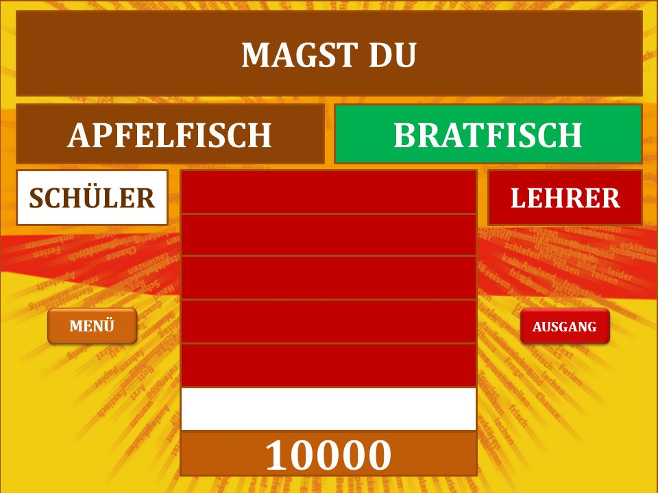 10000 LEHRERSCHÜLER MAGST DU APFELFISCHBRATFISCH AUSGANG MENÜ
