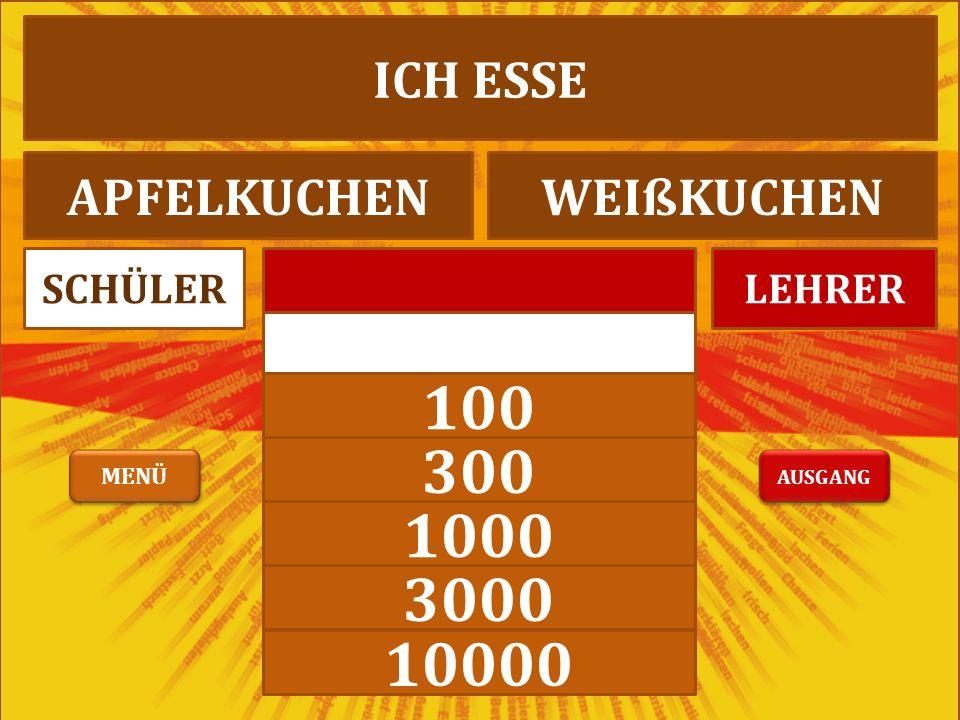 300 1000 3000 10000 LEHRERSCHÜLER ICH TRINKE SCHWEINESAFTORANGENSAFT AUSGANG MENÜ