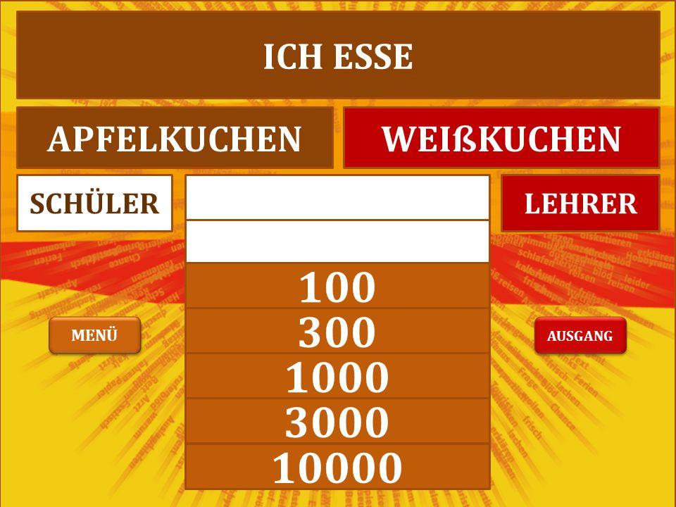 1000 3000 10000 LEHRERSCHÜLER ICH ESSE APFELKUCHENWEIßKUCHEN AUSGANG MENÜ