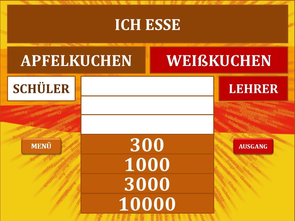 100 300 1000 3000 10000 LEHRERSCHÜLER ICH ESSE APFELKUCHENWEIßKUCHEN AUSGANG MENÜ