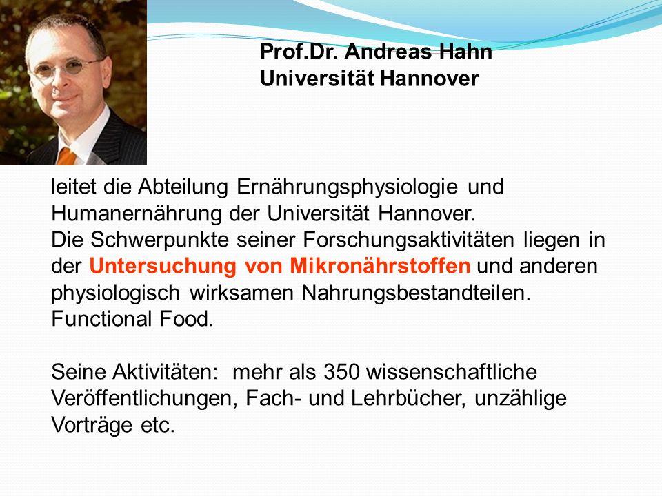 leitet die Abteilung Ernährungsphysiologie und Humanernährung der Universität Hannover. Die Schwerpunkte seiner Forschungsaktivitäten liegen in der Un