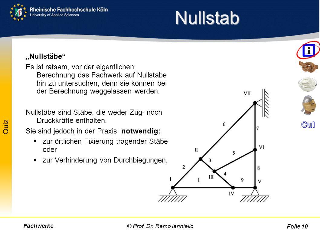 """Quiz Nullstab Fachwerke© Prof. Dr. Remo Ianniello Folie 10 """"Nullstäbe"""" Es ist ratsam, vor der eigentlichen Berechnung das Fachwerk auf Nullstäbe hin z"""