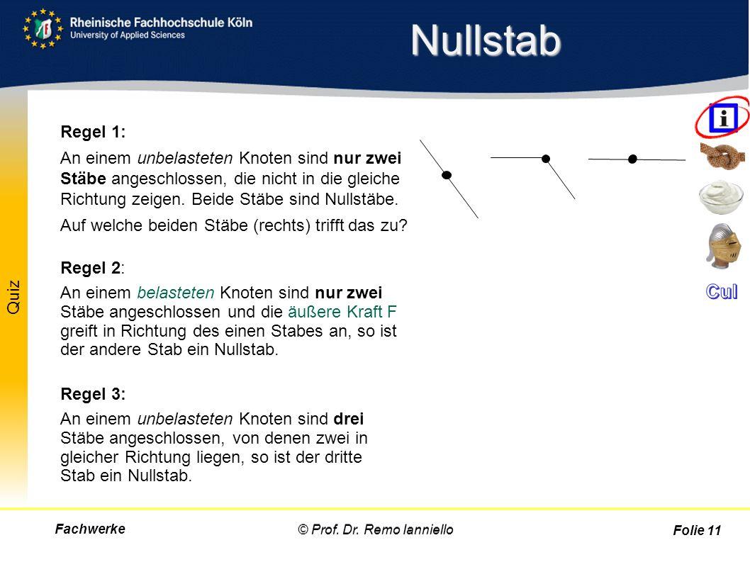 Quiz Nullstab Fachwerke© Prof. Dr. Remo Ianniello Folie 11 Regel 1: An einem unbelasteten Knoten sind nur zwei Stäbe angeschlossen, die nicht in die g