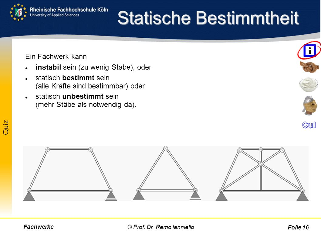 Quiz instabil statisch bestimmt statisch unbestimmt Statische Bestimmtheit Fachwerke© Prof. Dr. Remo Ianniello Folie 16 Ein Fachwerk kann instabil sei